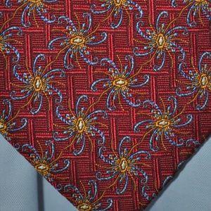 Robert Talbott BOC Extra Long Tie Red w/Starbursts